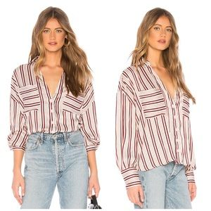 NWT Free People Mad About You Striped Button Up